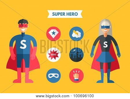 Flat Design Vector Illustration Of Super Hero With Icon Set. Infographic Design Elements