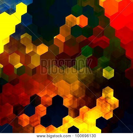 Abstract colorful hexagons illustration. Yellow red blue green orange colors. Pic for cover page.