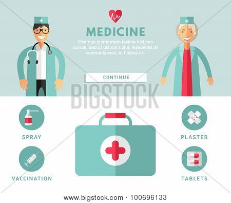 Profession Concept. Medicine. Flat Design Concepts For Web Banners And Promotional Materials