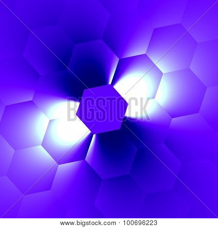 White beam on blue. New ideas. Soft blur. Top view render. Page decor. Pixel grid. Hex surface.