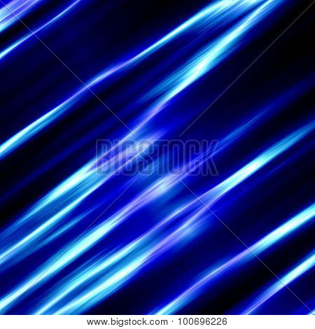 Blue glassy background. Neon glow. Modern style art. Black silk waves. Clean water wave. Frame.