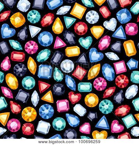 Seamless gemstones pattern on black.