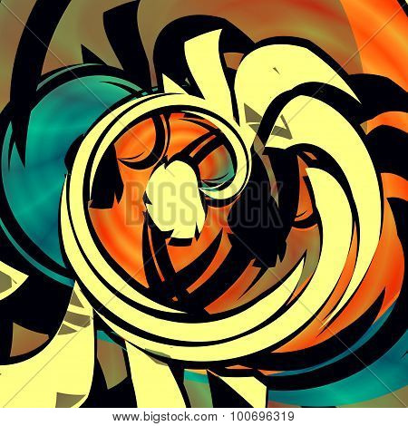 Blue orange abstract art. Big queer decor. Mixed curl. Arty poster style. Bizarre psycho pic. Arts.