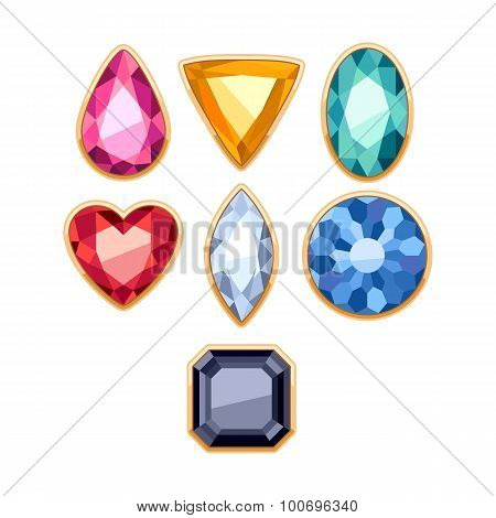 Colorful gemstones in golden rim vector illustration.