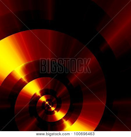 Infinite metallic golden spiral. Ultra cool pic. Heat glow. Web banner. Clean gold. Round loop.