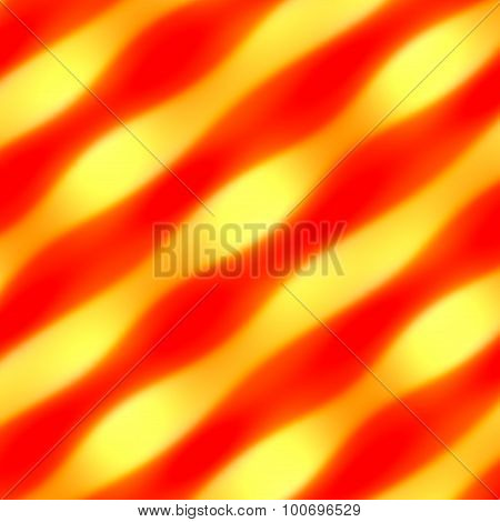 Abstract orange waves on gold. Soft glow. Wavy heat. Desktop pic. Yellow curvy lines. Curves.