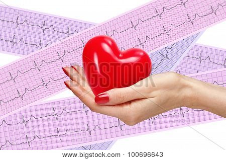 Red Heart In Woman Hand Over Heart Analysis, Electrocardiogram Graph (ecg)