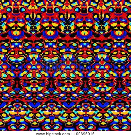 Psychedelic colorful symmetric pattern. Art deco. Ornate spot pic. Round blot. Cyber warp. Mix.