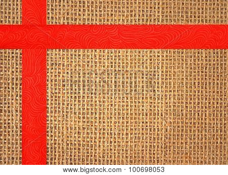 Linen Texture Background With Red Ribbon