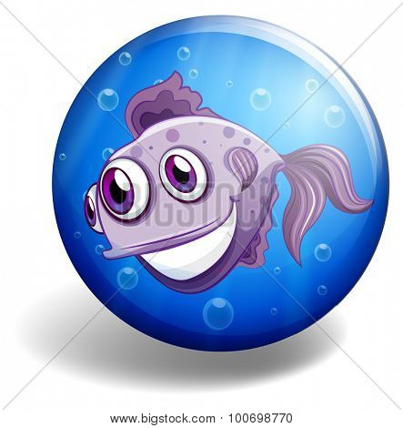 Sea monster swimming on blue badge illustration