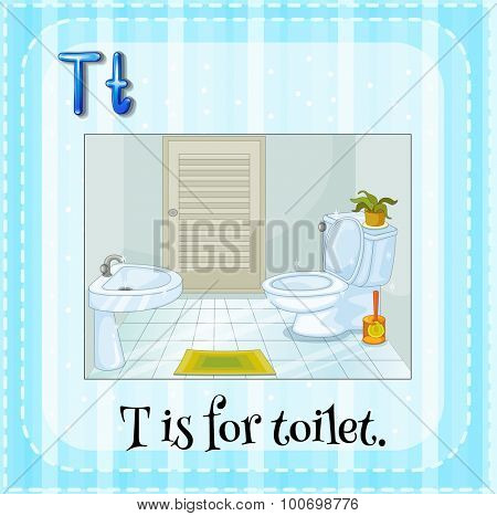 Alphabet T is for toilet illustration