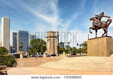 CHICAGO, ILLINOIS - AUGUST 22, 2015: Equestrian Indians Congress Plaza, Grant Park. Created by Ivan Metrovic the statues were created to commemorate the tribes that once roamed Illinois.