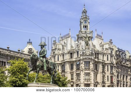 Porto, Portugal - July 04, 2015: Liberdade Square With Monument Of King Pedro Iv Statue
