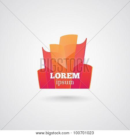 abstract orange glossy logo