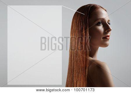 Portrait Of A Redhead Woman. Hair Tratment