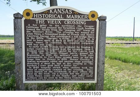 Kansas Historical Marker about the Vieux Crossing.