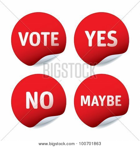 Set Of Red Vector Stickers Vote, Yes, No, Maybe