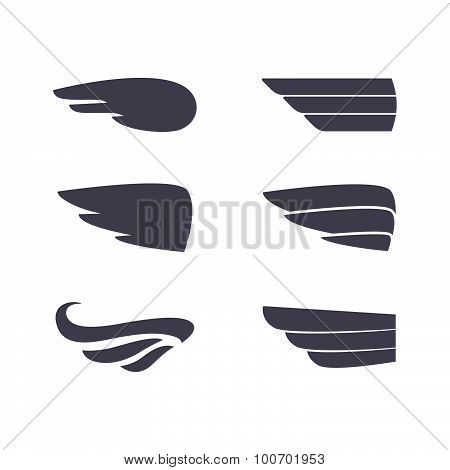 Set of vector silhouettes wings.