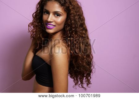Woman Wearing Iolet Lips And Urly Hair