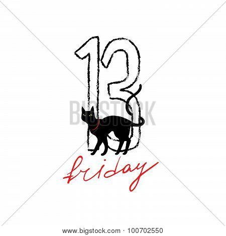 Friday 13th grunge illustration with numerals and black cat.