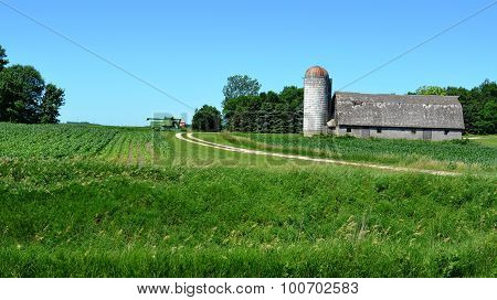Barn and silo and crop field
