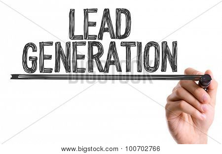 Hand with marker writing the word Lead Generation