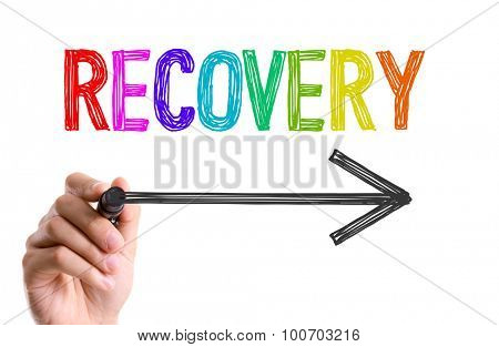 Hand with marker writing the word Recovery