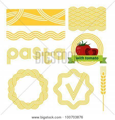Pasta package labels design set.