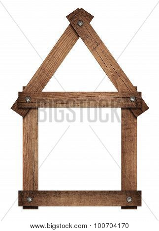 Wooden house home icon screwed frame is solated on white background