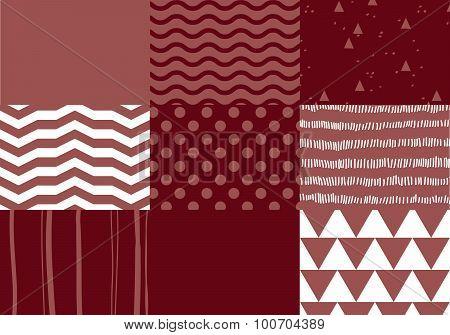 Set of marsala colored seamless patterns.
