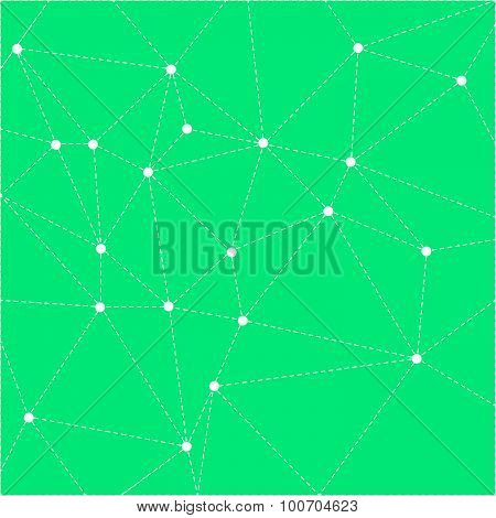 Green bright background with dotted triangles.