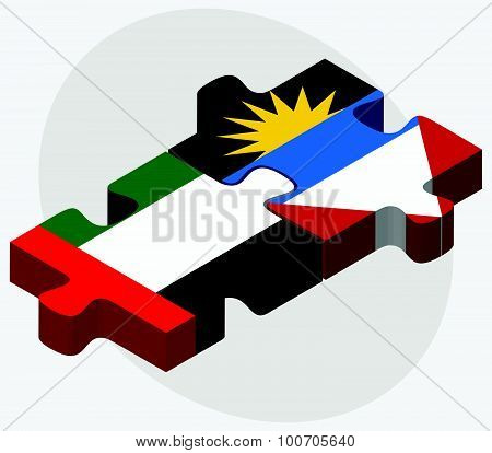 United Arab Emirates And Antigua And Barbuda Flags