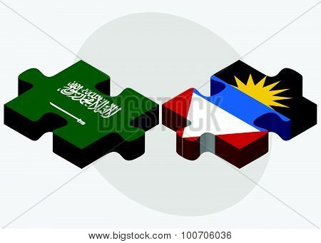 Saudi Arabia And Antigua And Barbuda Flags