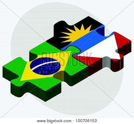 Brazil And Antigua And Barbuda Flags