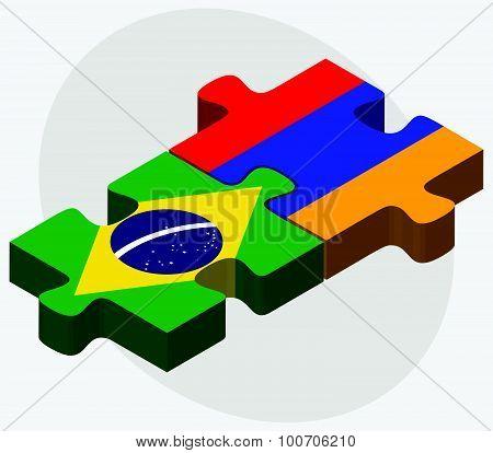 Brazil And Armenia Flags