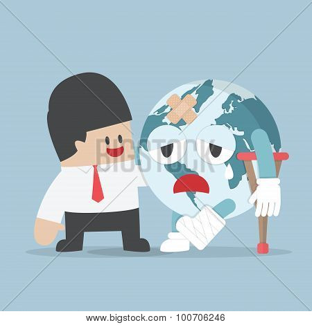 Businessman Help Injured Planet Earth
