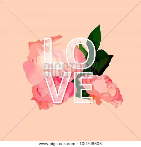 Vector Illistration with Peony and Letters