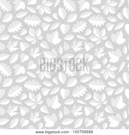 White Leaves Seamless Pattern