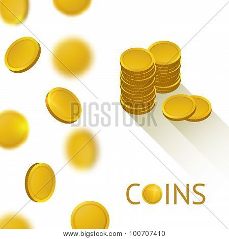 Set of Gold Shiny Coins