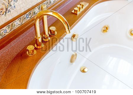 Novi Petrivtsi, Ukraine - May 27, 2015 Mezhigirya residence of ex-president of Ukraine Yanukovich. Closeup of luxurious bathroom