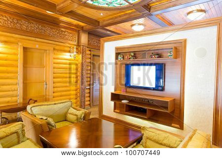 Novi Petrivtsi, Ukraine - May 27, 2015 Mezhigirya residence of ex-president of Ukraine Yanukovich. Interior of a wooden room