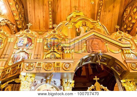 Novi Petrivtsi, Ukraine - May 27, 2015 Mezhigirya residence of ex-president of Ukraine Yanukovich. Close up of church interior inside the house
