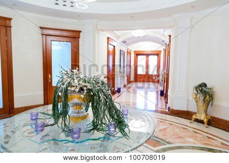Novi Petrivtsi, Ukraine - May 27, 2015 Mezhigirya residence of ex-president of Ukraine Yanukovich. Close up of luxurious modern hall