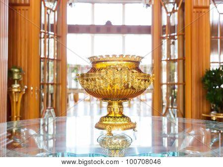 Novi Petrivtsi, Ukraine - May 27, 2015 Mezhigirya residence of ex-president of Ukraine Yanukovich. Close up of luxurious vase