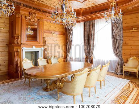 Novi Petrivtsi, Ukraine - May 27, 2015 Mezhigirya residence of ex-president of Ukraine Yanukovich. Luxurious dining room