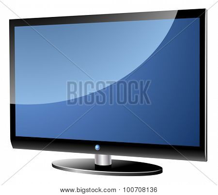 Wide screen modern TV set isolated on white.
