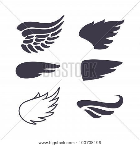 Set of Six Wings Silhouettes