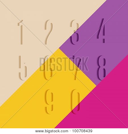 Set of Transparent Numbers with Shadow on Colorful Background