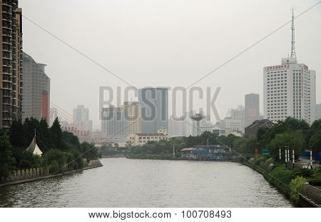 river Suzhou in center of Shanghai