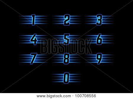 Blue Neon Vector Numerals